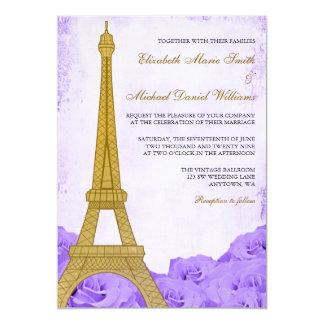 För guld- gifta sig för ro Eiffel för vintage torn 12,7 X 17,8 Cm Inbjudningskort