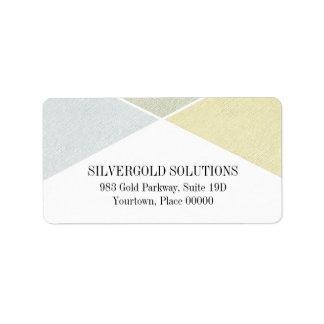 För guld- industriell chic metallLook för silver Adressetikett