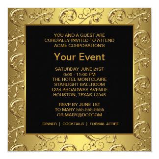 För guld och företags partyhändelse för svart fyrkantigt 13,3 cm inbjudningskort