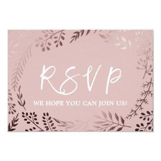 För guld- och rosabröllopWebsite för elegant rosa 8,9 X 12,7 Cm Inbjudningskort