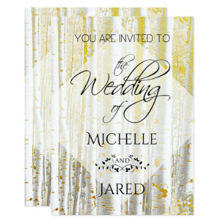 För guld och urblektt björkträd för vit 12,7 x 17,8 cm inbjudningskort
