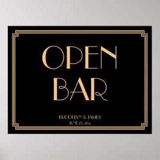 För guld- undertecknar den öppna puben Gatsby för Poster