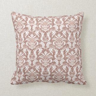 För guldrodnad för damastast royal rosa persika kudde