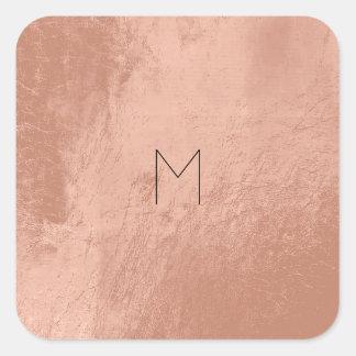 För guldrodnad för läder minsta Monogram för rosa Fyrkantigt Klistermärke