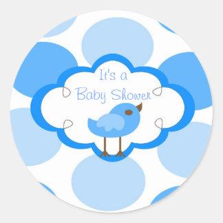 för gullig blått för baby shower molnbridie för rund klistermärke