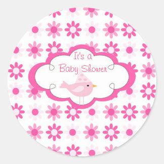 för gullig rosor för baby shower molnbridie för rund klistermärke