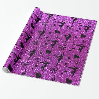 För gymnastikglitter för neon purpurfärgat mönster presentpapper