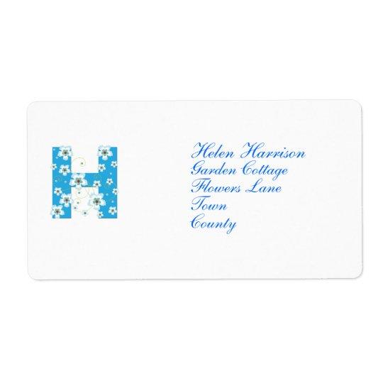För H-blått för Monogram initial adressetiketter f
