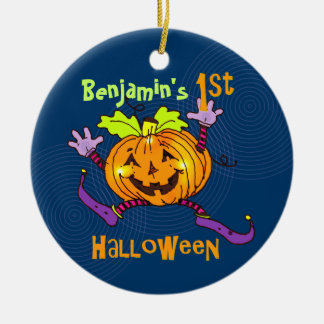 För Halloween för anpassningsbar 1st pumpa lycklig Rund Julgransprydnad I Keramik