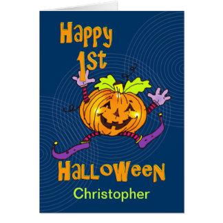 För Halloween för anpassningsbarnamn 1st pumpa Hälsningskort
