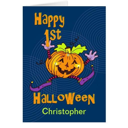 För Halloween för anpassningsbarnamn 1st pumpa lyc Kort