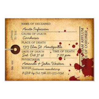 För Halloween för blodig Toemärkre asyl antik 8,9 X 12,7 Cm Inbjudningskort