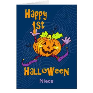 För Halloween för brorsdotter 1st pumpa lycklig Hälsningskort
