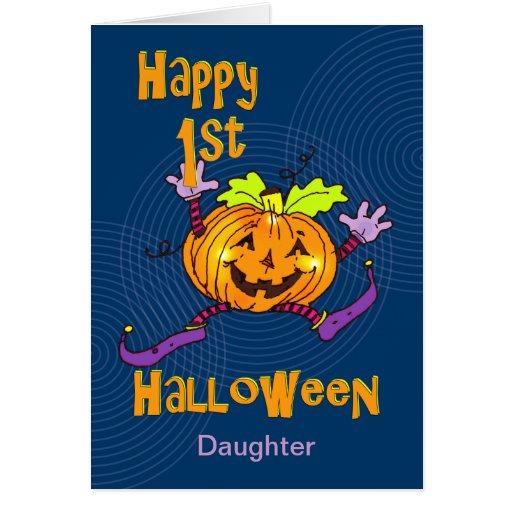 För Halloween för dotter 1st pumpa lycklig Kort