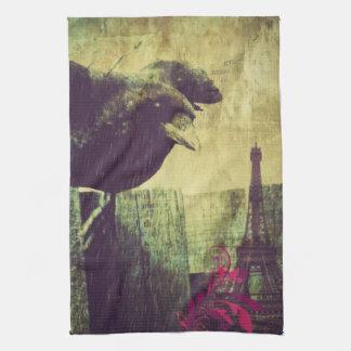 För halloween för GrungeParis Eiffel torn kråka Kökshanddukar