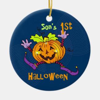 För Halloween för Son 1st pumpa lycklig Rund Julgransprydnad I Keramik