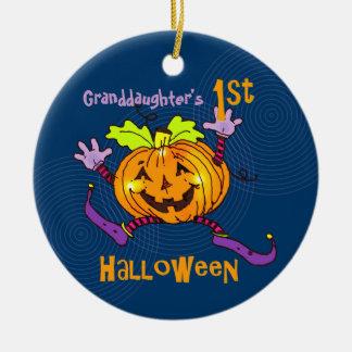 För Halloween för sondotter 1st pumpa lycklig Rund Julgransprydnad I Keramik