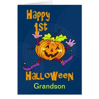 För Halloween för sonson 1st pumpa lycklig Hälsningskort