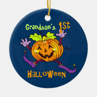 För Halloween för sonson 1st pumpa lycklig Rund Julgransprydnad I Keramik