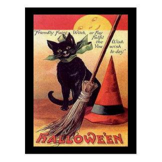 För Halloween för vintage svart kort katt