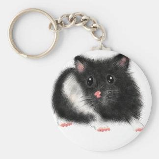 För hamstergåvor för gullig svart vit syriansk rund nyckelring