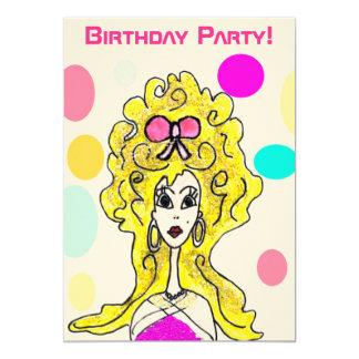 För hårdam för födelsedagsfest stor inbjudan för