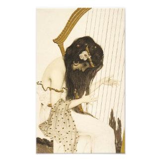 För Harpistfoto för vintage grekiskt tryck Fotografiska Tryck