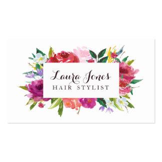 För hårstylist för vattenfärg blom- kort för set av standard visitkort