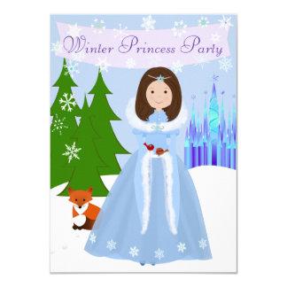 För hårvinter för mörk brun Princess Festa 11,4 X 15,9 Cm Inbjudningskort
