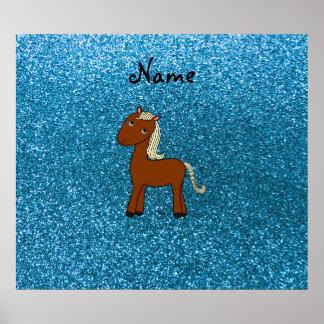 För hästblått för personlig känt glitter