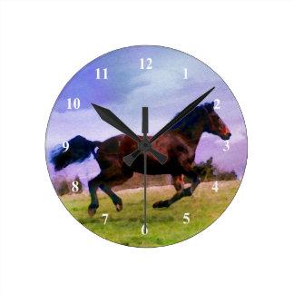 För hästponny för spring western vattenfärg för rund klocka