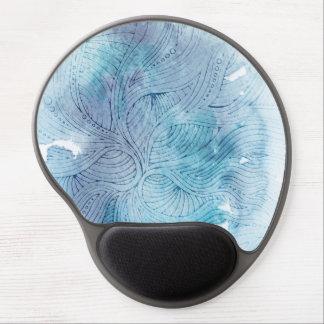 För havblått för vattenfärg målade vinkara lilor gel musmatta
