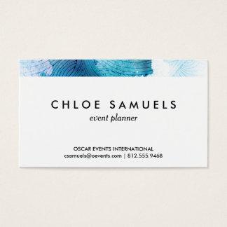 För havblått för vattenfärg målade vinkara lilor visitkort