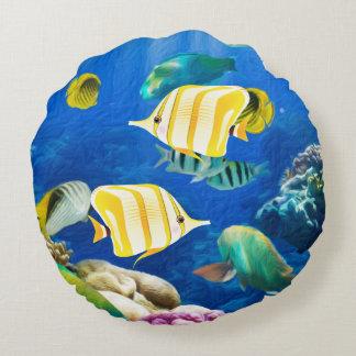 För havshav för akvarium undervattens- natur för rund kudde