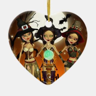 För häxahjärta för systrar tre förtrollande julgransprydnad keramik