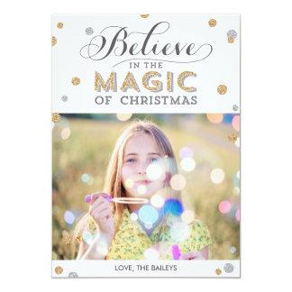 För helgdagfoto för jul magiska kort - vit 12,7 x 17,8 cm inbjudningskort