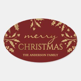 För helgdagjärneken för god jul omkullkastar den ovalt klistermärke