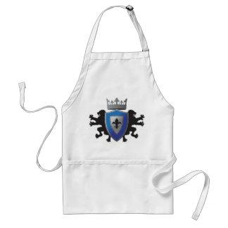 För heraldikmatlagning för blått medeltida lejont förkläde