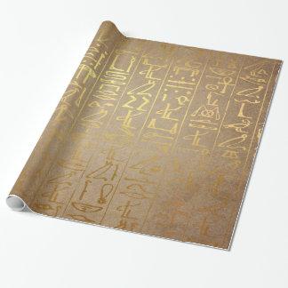 För Hieroglyphicspapper för vintage guld- Presentpapper