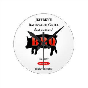 För Himmelska bakgårdens grillning av BBQ-vägg Rund Klocka