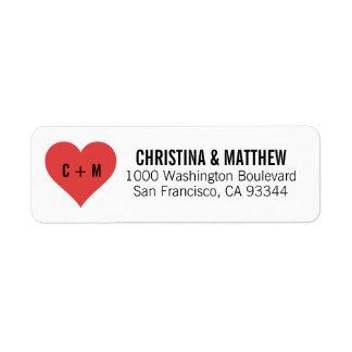 För hjärtabröllop för vit svart RÖD returadress Returadress Etikett
