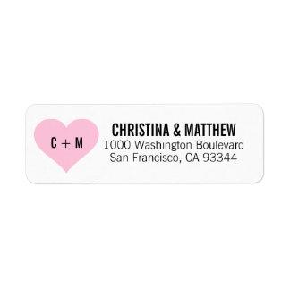 För hjärtabröllop för vit svart rosa returadress returadress etikett