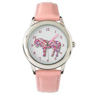 För hjärtahäst för klassiker rosa klocka för ponny