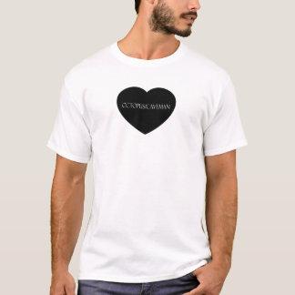 För hjärtalogotyp för bläckfisk/för grottman svart tee shirts