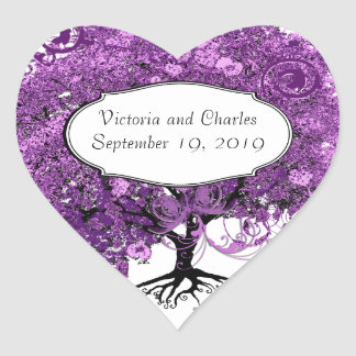 För hjärtalöv för skog purpurfärgat bröllop för hjärtformat klistermärke