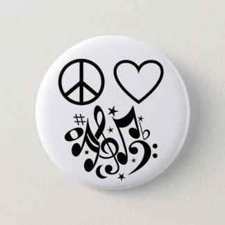 För hjärtamusikal för svart fredstecken röd standard knapp rund 5.7 cm