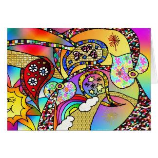 För hjärtaPaisley för Retro 60-tal Psychedelic Hälsningskort