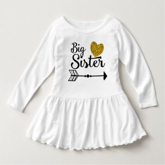 För hjärtapil för storasyster guld- klänning tee shirts