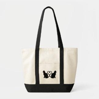 För hjärtaSilhouette för två katter toto för Tygkasse