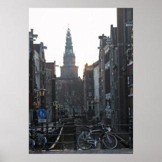 För Holland för kyrka för Amsterdam kanalcykel Poster